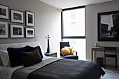 Bedroom in shades of grey