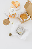 Handmade soaps in gift boxes