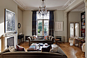 Stucco ceiling and pillars in classic living room of period building