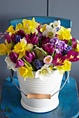 Colourful spring bouquet with tulips and narcissus