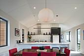 Elegant dining area in open-plan kitchen