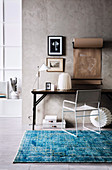 Wabi Sabi style work station with blue vintage carpet