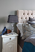 Bedroom accessories in blue-grey shades