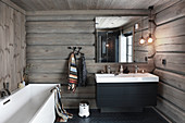 Modern bathroom in log cabin