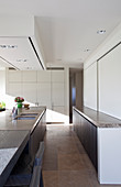 Kücheninsel mit verlängerter Tischplatte, Sideboard, darüber Schiebeelemente in eleganter Küche