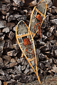 Wood and leather snow shoes