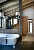 Free-standing bathtub in modern bathroom in natural shads