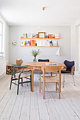 Bright dining room in retro Scandinavian style