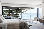 Elegant bedroom with panoramic sea views