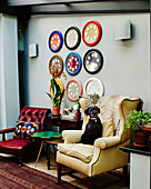 Dog sitting on yellow wing-back chair in front of colourful round picture frames on wall