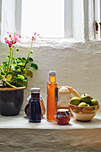 Still-life arrangement of syrups