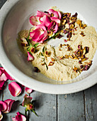 Ingredients for making almond and rosewater cleanser