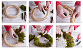 Instructions for tying a moss wreath