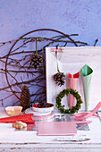 Various craft utensils for making Christmas wreaths