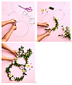 Make wreaths of leaves with paper flowers in the shape of a rabbit