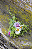 Posy of lady's mantle, red clover and ox-eye daisies lying on weathered wood