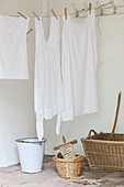Vintage-style laundry hung on washing line