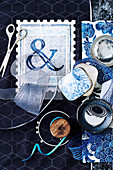 Decorative objects and decorative material on a blue background