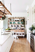Rustic shelf in white country kitchen with wooden floor