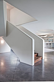 Futuristic flight of stairs in modern architect-designed house
