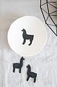 Handmade decorative bowl with lama motif