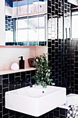 White sink and mirror cabinet in the bathroom with black wall tiles