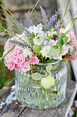 Bouquet Of Roses, Lavender, Scabious And Virgin In The Countryside