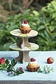 Cake stand made from cardboard and sewn paper