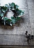 Kranz aus Eukalyptuszweigen mit Erlenzapfen