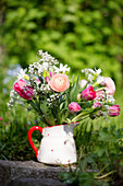 Spring Bouquet With Ranunculus, Tulips And Gypsophila