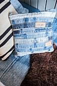 Handmade denim cushion cover