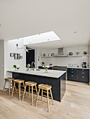 Counter and skylight in open-plan kitchen