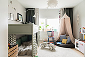 Loft bed, play area under canopy and vintage-style ride-on car