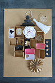 Origami boxes made from brown paper