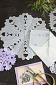 Vintage paper doilies with hand-cut patterns