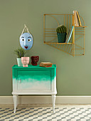 Small cabinet painted with two-tone ombré effect