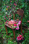 Applepie mit dünnen Apfelscheiben auf Holzstuhl im Garten