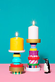 Candlesticks made from recycled materials