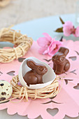 Chocolate Easter bunnies in egg shell and raffia nest on pink paper doily