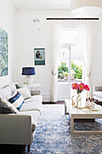 Bright living room in white and blue
