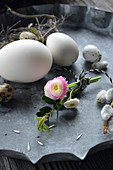 Small Bouquet Of Daisies And Buxus With Eggs As Easter Decorations