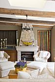 Open fireplace in rustic, elegant living room