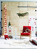 Christmas living room decorations in red and white