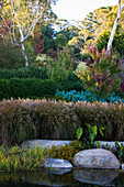 Garden pond with rocks in terraced gardens