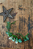 Minimalist wreath of fir sprigs and eucalyptus