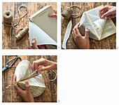 Anleitung für ein Prisma aus gefalteten Buchseiten