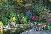 Teich in bewachsenem Garten, im Vordergrund Feuerschale