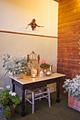 Plant (silver ragwort), candle lanterns and birdcage on table