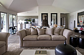 Beige sofa and exotic accessories in open-plan interior