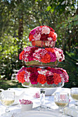 Carnations in shades of red arranged on cake stand on set table in garden